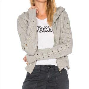 Pam & Gela lace up crop hoodie